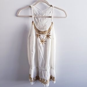 O'NEILL White Embellished Tank Top Size Large